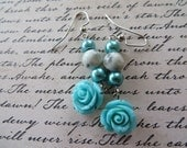 Dangling Aqua Resin Rose Earrings with Glass Pearls and Sesame Jasper
