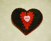 Felt Hair Clip Heart Black and Red Valentines Day Hair Clip, Hair Fashion Accessories