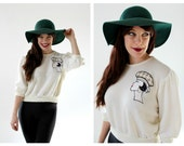 Pinup Embroidered Sweater- Womans Bust Face Bombshell Retro 3/4 Sleeve Top, Blouse, Knitted Sweater, White