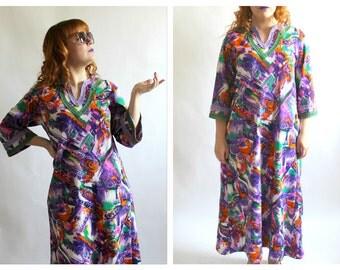 70s Neon Maxi Dress- L/XL, Maxi Hippie Dress, Purple, Orange, Green Bell Sleeve Caftan Goddess
