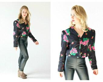 80s UNGARO Pink and Black Cropped Blazer- 10, Designer Vintage, Ter, 44, Rose Floral Print, Sequin Beaded Black 80s Neon Statement Jacket