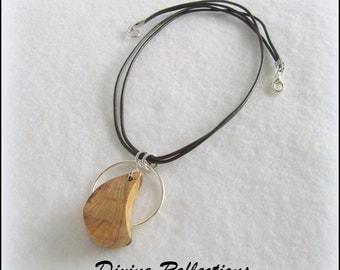 Carved Wood Pendant, Wood Necklace, Cedar Wood, Hand Carved Cedar Pendant on Leather