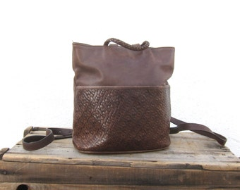 Small Backpack Woven Brown Leather Rucksack Purse