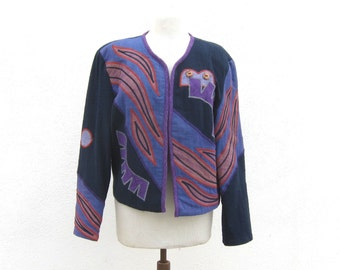 80s Mexican Blazer Applique Abstract Quilted Ladies Size M/L