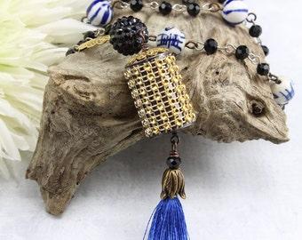 Blue Beaded Tassel Necklace Jewelry – Beaded Necklace with Tassel – Gold Long Tassel Necklace – Boho Chic Hippie Gypsy Jewelry - TA4