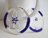 Dream Catcher earrings - Big hoop earrings - big purple earrings - Music festival - Whimsical Bohemian jewelry - girlfriend gift idea - Boho