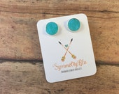 Turquoise Druzy Earrings, Blue Earring, Ready to Ship Gift, Stud Earrings, Fashion Jewelry, Costume Jewelry, Mother's Day Gift, Graduation