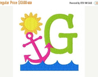 SALE INSTANT DOWNLOAD Anchor Summer Embroidery Monogram Embroidery Design Set