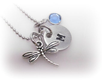 Dragonfly Necklace Dragonfly Charm Jewelry Personalized Dragonfly Necklace Hand Stamped Initial Jewelry Custom Monogram Necklace