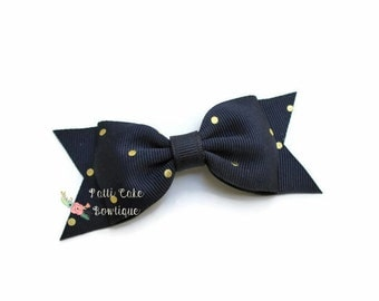 Baby Girl Navy and Gold Polka Dot Hair Bow/Girls Hair Bows/Navy Hairbows/Navy and Gold Bow/Toddler Hair Bows/Navy Baby Bows/Boutique Bows
