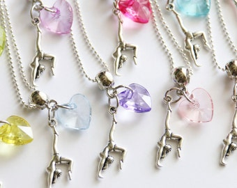 Girls Gymnastics Party Favor Necklaces Sport 10 or More Necklaces, Gymnastics Party, Gymnastics Favor, Heart Necklace, Assorted Colors