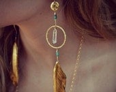 VALENTINES SALE CRYSTAL Feathers /// Earthy Quartz Points Feather Hoops  /// Boho Tribal Earrings /// Gold or Silver