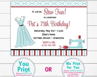 Sewing Birthday Party Invitation Sewing Party Invitation