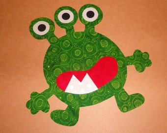 Iron On Applique GREEN SPOT MONSTER ...New...See Size In Listing
