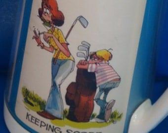 Vintage Thermo Serv Retro 1970's Woman Golfer Mug