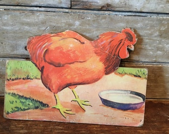 Vintage Chicken  Press Hardboard  1940s