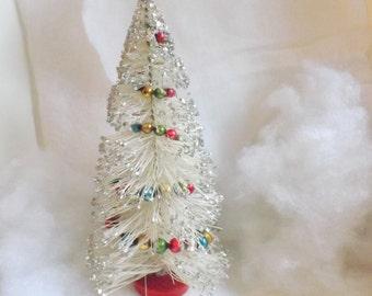 Vintage extra large bottle brush tree white multicolor mercury bead garland silver glitter bottlebrush tree 12.5 inch no 2