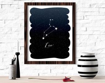 Leo Zodiac Constellation Wall Art Printable 8x10 - Instant Download Birthday Horoscope Astrology Stars Night Sky Poster Home Decor Room