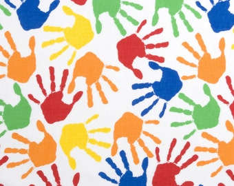 Hands Print - By the Yard - Cotton Fabric