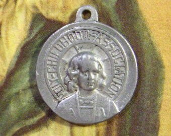 Vintage Religious Medal Holy Childhood Association 1950s Aluminum Charm