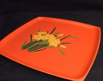 Lacquerware Tray,  Square Orange Serving Tray, Embossed Yellow Daffodils,  Hand Painted,  Made In Japan OMC