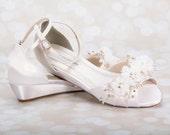 Wedding Shoes - Swarovski Crystals & Pearls - Bridal Shoe - Choose From over 200 Shoe Colors - Short Wedding Heel Peep Toe Shoes For Wedding