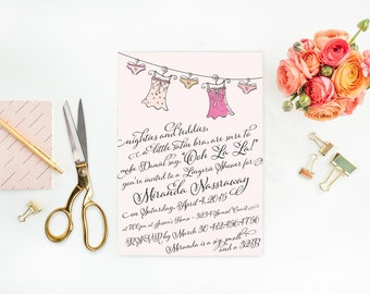 Bachelorette Party Lingerie Shower - Girls Night Out -  5x7 JPG Printable DIY File - Wedding Party Cockail Party Bachelorette Party Invite