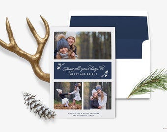 Photo Collage Christmas Card / Holiday Photo Greeting - Red, Blue, Gold, Rose Gold Card, -  5x7 - Printable Christmas Card