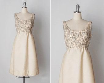 vintage 1960s dress / 60s beaded dress / shantung silk dress / Sophie dress