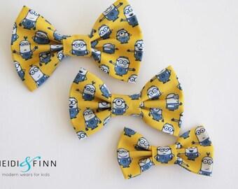 Minion Hairbow  Hairclip despicible me blue yellow navy white hairband