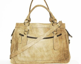 Rina Oversized. Leather handbag tote handbag cross-body bag in vintage nude fits a 17 inches laptop