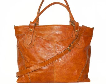 Distressed orange leather tote bag ,leather handbag, leather cross-body bag, extra-large leather laptop purse Nora 17""
