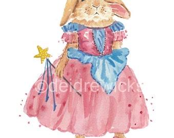 Rabbit PRINT Watercolor Painting - 5x7 Watercolour Print, Princess, Bunny Rabbit, Nursery Art