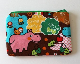 Japanese Kawaii Happy Day Woodland Zip Pouch - Small Zip Pouch Coin Purse Wallet - Made from Japanese import fabric