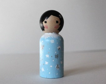 Peg Doll - Mini Kokeshi Doll - Wooden Doll Waldorf Handpainted - Winter Princess
