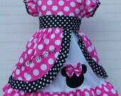 Minnie Mouse Dress Med Pink Peekaboo Puff Sleeve Dress