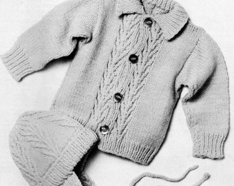 vintage knitting pattern cable knit cardigan sweater button earflap hat toddler baby 6 12 24 months worsted printable instant download pdf