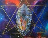 "Panel I of III of ""Quest"" Triptych, Chrysalis Galaxy Sacred Geometry Artwork"
