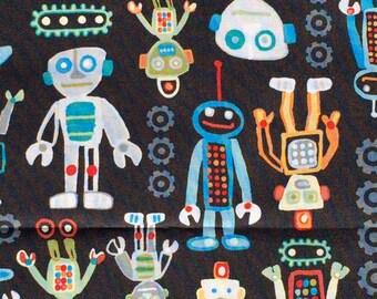 Mr Roboto robots black Studio E fabrics FQ or more