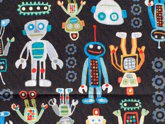 SALE : Mr Roboto robots black Studio E fabrics FQ or more