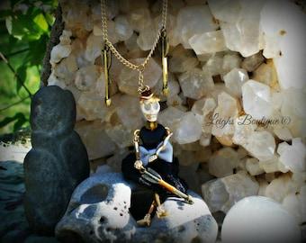 Enchanted Amber The Warrior Goddess Hoodoo Dollie Necklace ~ Dia de los Muertos