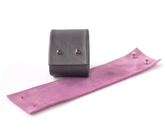 Suede leather cuff bracelet in pink or leather cuff bracelet in grey