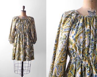 90's peasant top. batik. 1990 boho blouse. blue green yellow ivory. small. 90 m top. india cotton.