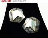 Vintage Sterling Silver Earrings for Pierced Ears - Abstract Mod BOHODesign with Mother of Pearl Signed 925 22K