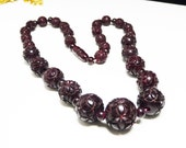 Carved Celluloid Bead Necklace - Brown Caitlin Style Beaded 1930's Vintage Necklace