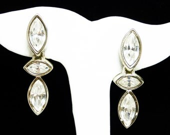 Swarovski Clear Rhinestone Earrings for Pierced Ears - Signed S.A.L.  - Dangling Marquis - 1980's 1990's Modern