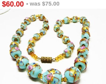 Venetian Wedding Cake Necklace - Pink & Turquoise Beads with Gold Accent - Art Glass Beaded Necklace - Choker Necklace - Vintage Beads