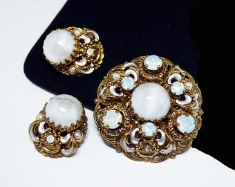 Western Germany Filigree Brooch Earring Set - Goldtone Demi Parure with Blue Moon Glow Rhinestones - Vintage European Jewelry Signed