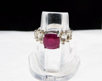 Ruby Sterling Ring - With Three Marquis CZ on each side - Signed 925 & TGG - July Birthstone ring