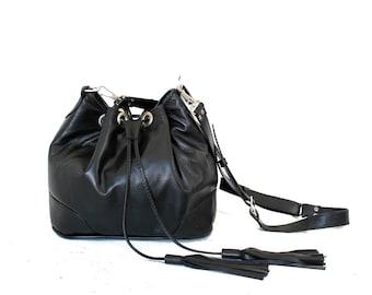 Black Italian Leather Drawstring Bucket Bag. Adjustable Strap. Everyday Bag. Crossbody Handbag. Blossom Drawstring Bag.